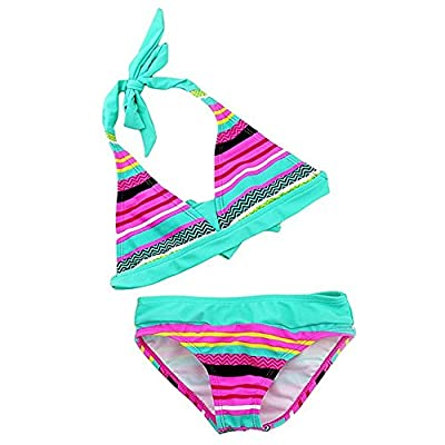 SLGADEN Girls Colorful Striped 2 Pieces Swimsuit High Waisted Bikini Set for 5-10 Years