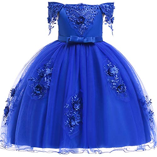 Navy Dresses for Girls Size 4-5 Flower Formal Bridesmaid Wedding Dresses 5T A-Line Lace Tutu Tulle Girl Dresses Sleeveless Knee Length Easter Pageant Dress for Kids 6 Years Old Cute Frocks (Navy 120)]()