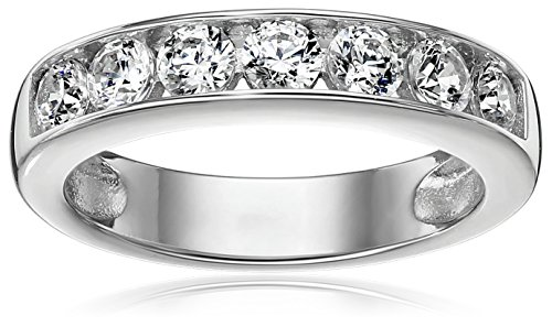 Sterling Silver Platinum-Plated Swarovski Zirconia Round Channel Band Ring, Size 5