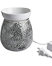 WHOLE HOUSEWARES 4.9X5.7 Inch Mosaic Glass Fragrance Warmer, Electric Wax Warmer, Decorative Lamp for Gifts & Home Decoration (Gray)