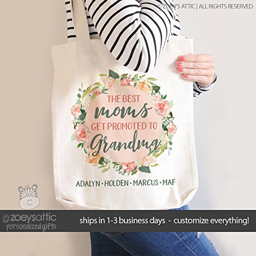 grandma tote bag | the best moms get promoted to grandmas | mother's day tote bag | nana tote bag by Zoey's Attic Personalized Gifts