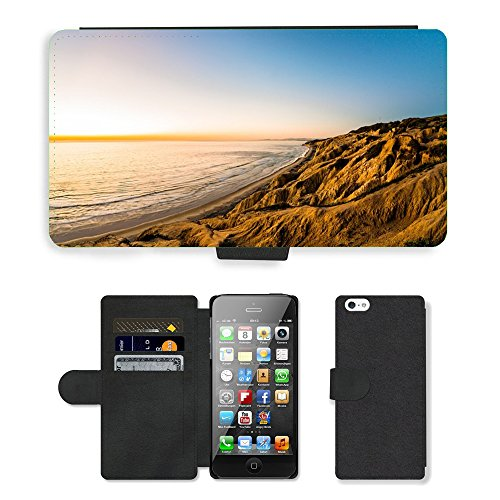PU Leather Cover Custodia per // M00421555 Côte Shore Hills Montagnes Cliffs // Apple iPhone 5 5S 5G