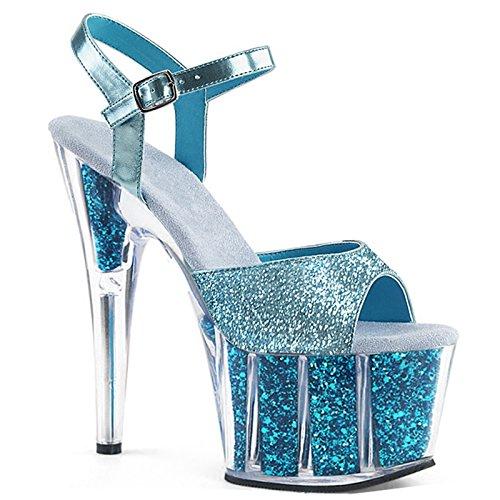 Europeo Tacones blue de Toe Lentejuelas Bodas Altos Finas Estilo con Sandals Proms Sexy Alta Personalidad YMFIE OpxwqIUnax