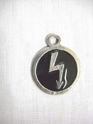 Marilyn Manson Round Black Inlay w Lightning Bolt Pendant ADJ Necklace KEZ-256