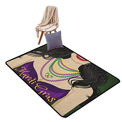- Bedroom Floor Rug Mardi Gras Young Woman with Party Dress and Necklace with Fleur De Lis Symbol Accessories Door Rug Increase W5'xL6'