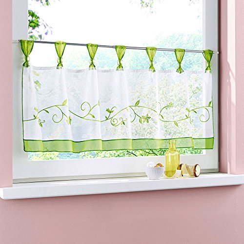 Uphome 1pcs Cute Embroidered Floral Window Tier Curtain - Kitchen Tab Top Semi Sheer Curtain (48
