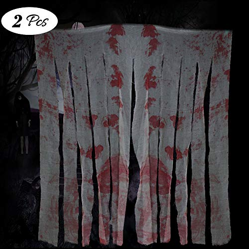 FATHER.SON Halloween Creepy Cloth Decoration House Morgue-Blood Handprints Creepy Cloth-Halloween Prop Table Door Decoration(2x35.4 59