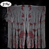"FATHER.SON Halloween Creepy Cloth Decoration House Morgue-Blood Handprints Creepy Cloth-Halloween Prop Table Door Decoration(2x35.4 59"")"