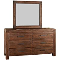 Modus Furniture 3F4183 Meadow Solid Wood Mirror, Brick Brown