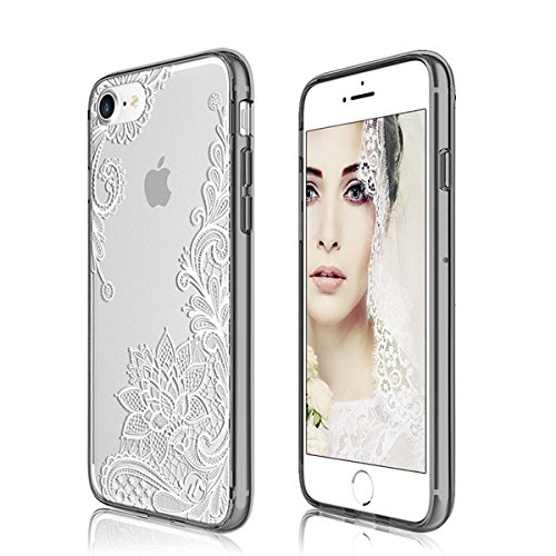 iPhone 8 Case, iPhone 7 Case, 3Cworld Ultra Thin Clear Art Pattern Crystal Gel TPU Rubber Flexible Slim Skin Soft Case for iPhone 7 / iPhone 8 (Floral White ) (Pattern Case Gel)