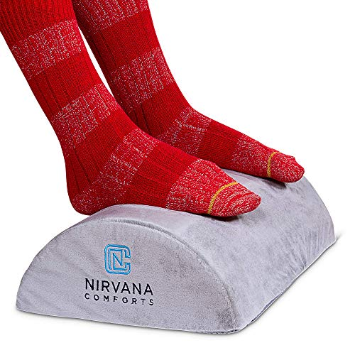 Desk Foot Rest Cushion by Nirvana Comforts | Comfortable Under Desk Foam Pillow for Office or Airplane | Ergonomic Foot Elevation | Padded for Sofa or Chair Back | Relief for Plantar Fasciitis