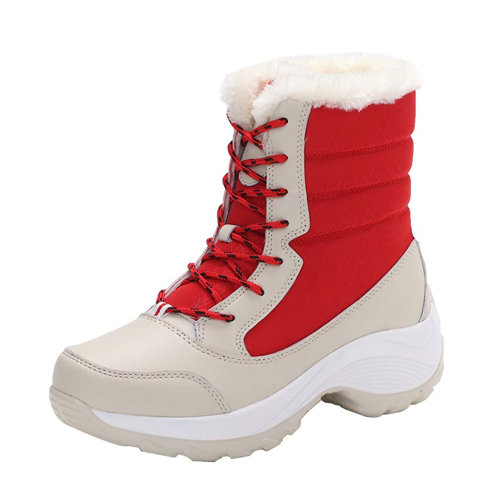 Clearance Sale! Caopixx Boots for Women's Winter Back Lace up Boot Snow Boots Non-Slip Waterproof Boots Soft