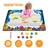 Hierceson Aqua Drawing Mat for Kids, Doodle Pad Educational Gifts Developmental Toys Coloring Water Magic Mats Scribble Board Pad Painting Markers for Baby Toddler with Pens