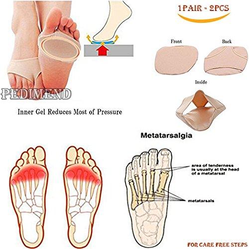 Pedimend - Cuscinetti metatarsali anti-scivolo Cuscini a gel per la piana del piede:neuroma di Morton; sollievo dal dolore per l'avampiede; inserimento per mezze dita - cuscinetti in tessuto e gel –Sollievo da vesciche, calli, metatarsalgie, per fase po