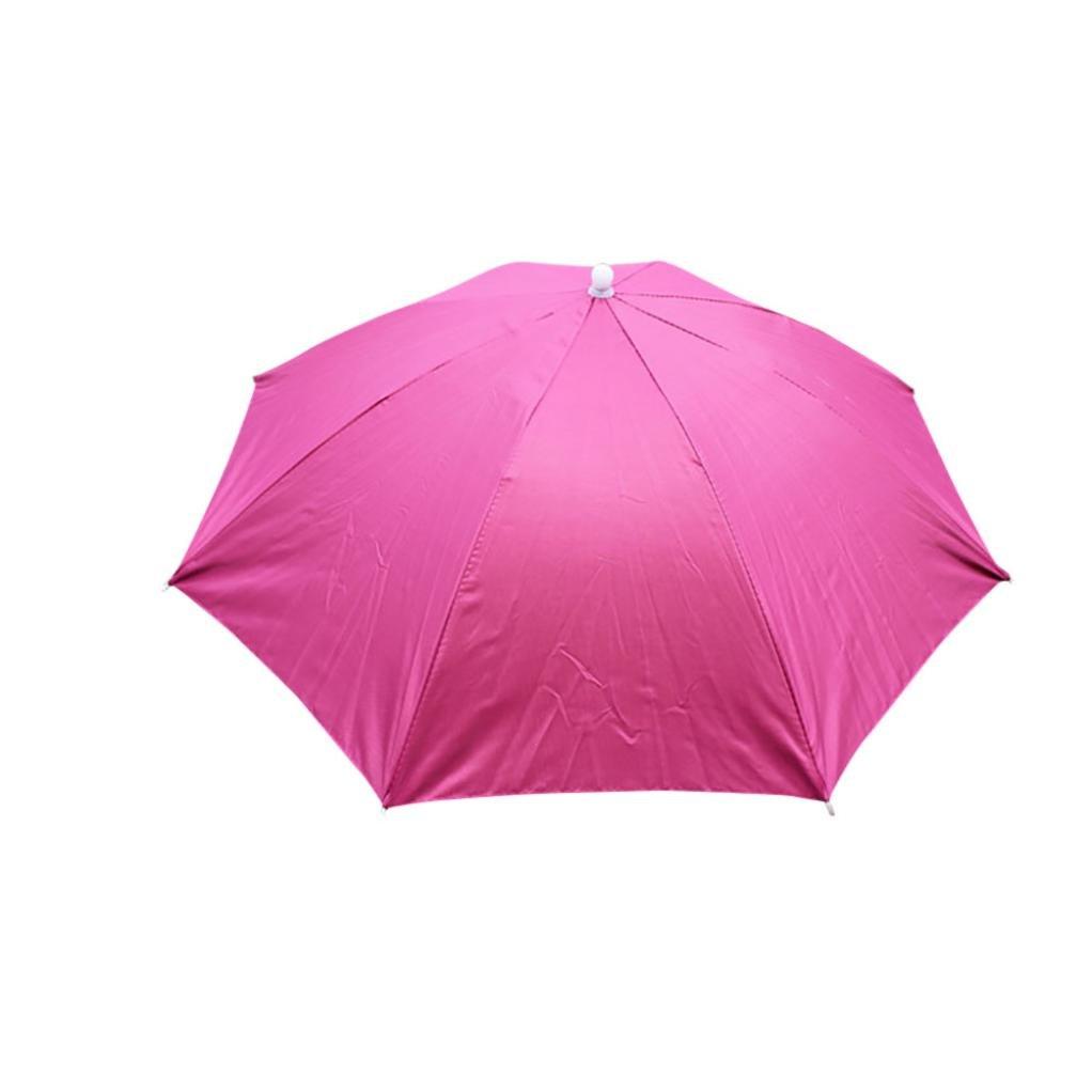 (Hot Pink) - Umbrella Hat, SUKEQ Novelty 70cm Diameter Foldable Umbrella Sun Hat Cap Golf Fishing Camping Headwear Cap Hands Free with Head Strap for Sun & Rain (Hot Pink)  ホットピンク B07BRG1GLB