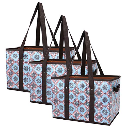 (Foraineam Reusable Grocery Bags Set Durable Heavy Duty Tote Bag Collapsible Grocery Shopping Box Bag with Reinforced Bottom, Pack of 3)