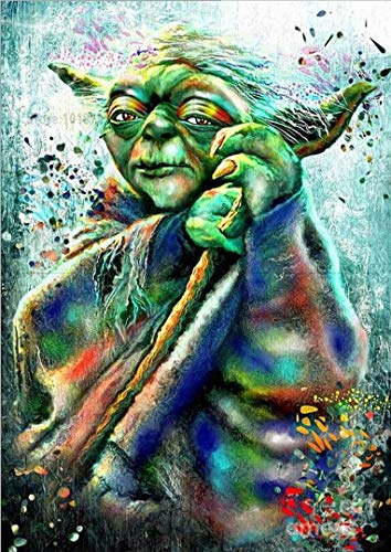 (Star Wars Full Drill Diamond Painting 5D DIY Diamond Embroidery Cross Stitch Crystal Rhinestone Art Craft Movie Pictures Mosaic Painting Home Wall Decoration,Master Yoda B (40X50CM))