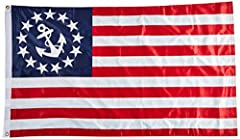 Our superknit U.S. Yacht flag is made of our exclusive superknit polyester printed material. This flag is also called the anchor flag or boat flag. Our 3' x 5' yacht ensign flag is made of durable superknit polyester material and is double si...