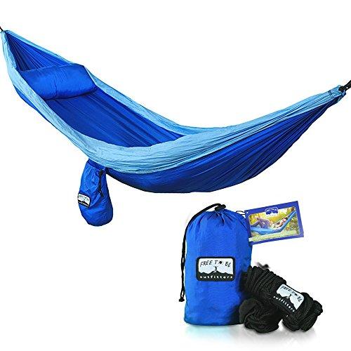 Single Lightweight Nylon Parachute Hammock - Featuring Bonus Pillow Pouch & Extra Long Eco-Friendly Tree Straps
