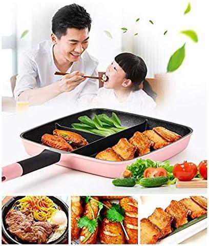 AZHom Pot Repas 3 Sections, Pot de Petit-déjeuner de Cuisson Rapide, 3-en-1 Plateau Barbecue, poêle antiadhésive, poêle Anti-adhésive