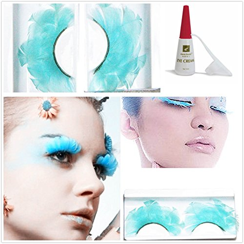 Beauty II Girl Lady Fancy Dress Dance Party Makeup Feather False Eyelashes Eye Lashes Thick Extra Long Cosplay Christmas Halloween Costume Queen Holiday Fine Fun Fake Eyelashes with Glue (Blue (Fake Blue Eyelashes)