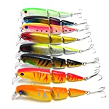 Aorace 8PCS/Lot Jointed Fishing Lures for Bass Trout 6# Hooks Fishing Tackle Equipment Pesca Fish Bait Hard Artificial Lure Wobbler Minnow 10.5CM 14G