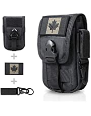 WYNEX Tactical Phone Pouch Molle, Smartphone Holster Bag EDC Utility Cellphone Lock Card Holder Organizer Fit for Waist Belt Case Include Tactical Gear Clip and Canada Patch