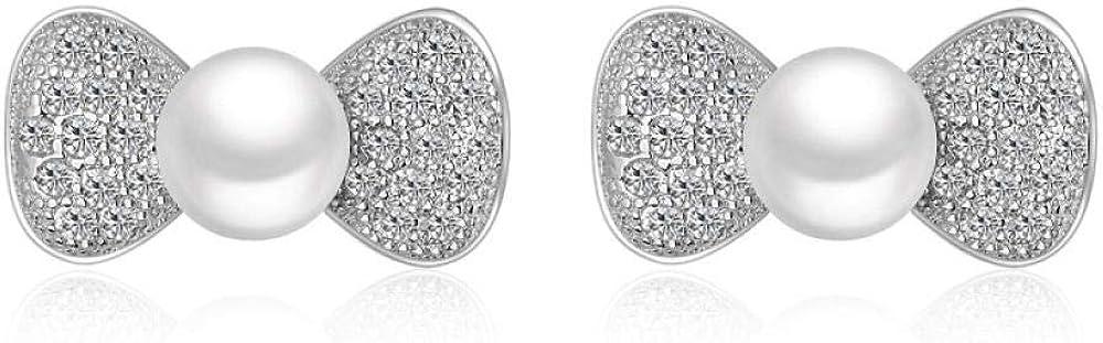 Aretes de temperamento japonés y coreano con micro diamantes pendientes de circonita pendientes de perlas Kdw