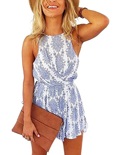 Women Sexy Strap Backless Summer Beach Party Romper Jumpsuit Floral Print Backless Shorts Beach Jumpsuit (Small, Blue & White)