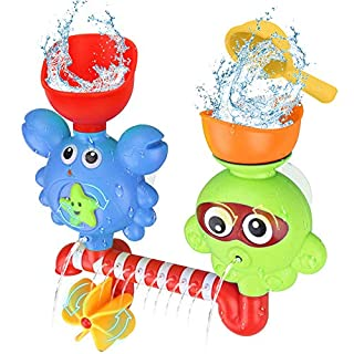 Think Wing Baby Bath Toys for 1 2 3 Year Old, Wall Bathtub Toys for Toddlers Kids Bathroom Playset Octopus Crabs Waterfall Station Sprinkle Water Toys Gift for Babies …