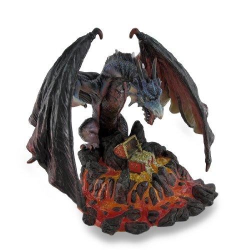 Menacing Dragon Guarding Lava Treasure Sculptural Statue (Treasure Guarding Dragon Figurine)