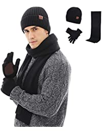 f894d35371c Winter 3Pcs in 1 Warm Thick Knit Beanie Hat Long Scarf and Touchscreen  Driving Gloves Set