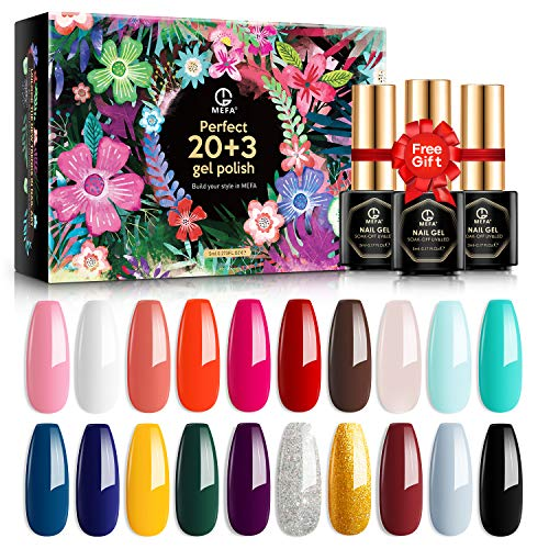 MEFA 23 Pcs Gel Nail Polish Set with Nice Box, Soak Off Nail Gel Collection with Glossy and Matte Top Coat Base Coat Manicure Nail Art Salon