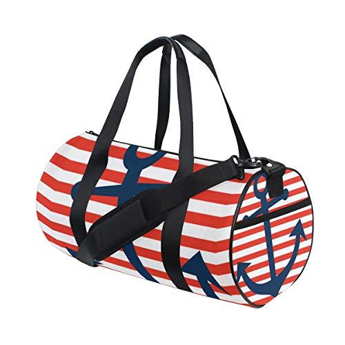 OuLian Gym Bag Nautical Anchor Unique Women Canvas Duffel Bag Cute Sports Bag for (Versace Double Handles Bag)