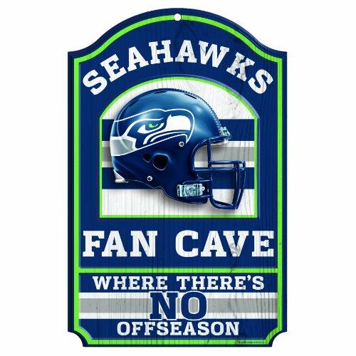 """NFL Seattle Seahawks Fan Cave Wood Sign, 11"""" x 17"""""""