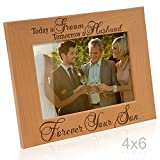 Kate Posh - Today a Groom, Tomorrow a Husband, Forever your Son Picture Frame - Engraved Natural Wood Photo Frame - Mother of the Groom Gifts, Father of the Groom Gifts (4x6-Horizontal)