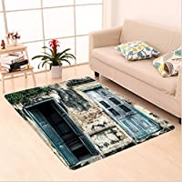 Nalahome Custom carpet s Of An Old Rock House With French Frame Details In Countryside European Past Theme es Teal Grey area rugs for Living Dining Room Bedroom Hallway Office Carpet (2 X 4)