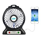 Portable Fan,COO USB Fan Battery Operated Fan with Flashlight, Quiet and Powerful Rechargeable Desk Fan for Phone Charge,Outdoor,Office,Backpacking (Black)