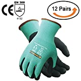 Tarantula Nitrile Coated Safety Work Gloves for General Purposes, Lightweight Work Gloves, 13 Gauge Mint Green Polyester Shell, Black Sandy Nitrile on Palm and Fingers, 12 Pair per Pack