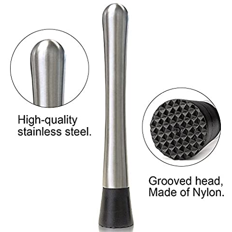 2PCS Muddler Bar Tool & Stainless Steel Cocktail Muddler 8″ Long.