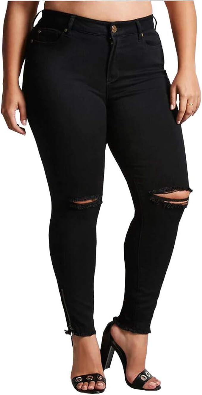 Pantaloni Jeans Casual Colore Nero Denim Strappato Vita Bassa 42 44 46 48 50 52