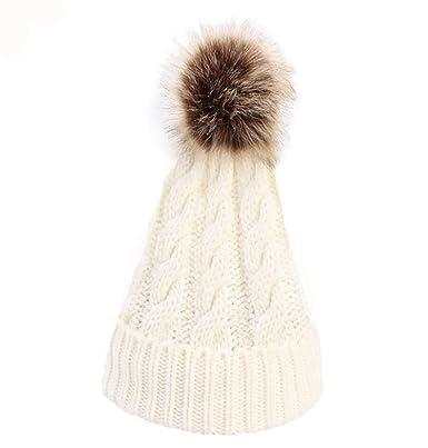 Freesiom Bonnet Femme Hiver Pompon Chaud Beanie Coton Tricot Doux Doublé  Polaire Fourrure Simple Mode Fashion Chapeau Ski Sport (Blanc)  Amazon.fr   ... 19d405040ff