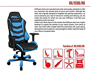 Amazon.com: DXRacer Iron Series OH/IS166/NB Large Size Seat Office Chair  Gaming Ergonomic with - Included Head and Lumbar Support Pillows  (Black/Blue): Kitchen & Dining
