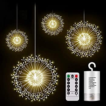 KJOY Firework Lights, Seosucce Upgrade 4Pcs LED Copper Wire String Lights Battery Operated Fairy Lights with Remote, 8 Modes Dimmable, Hanging Starburst Lights for Party, Christmas, Outdoor