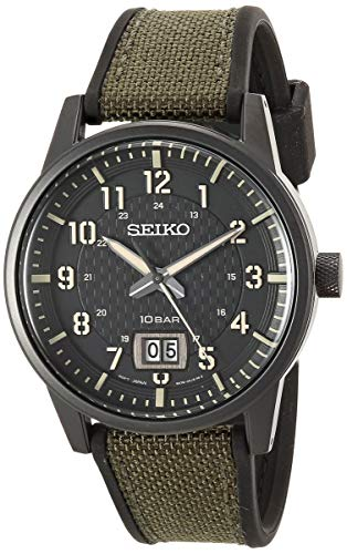 Seiko Men's Essentials Stainless Steel Japanese Quartz With Silicone Strap, Green (Model: SUR325)