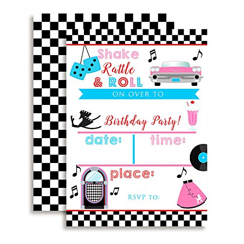 50's Sock Hop Birthday Party Invitations, 20 5