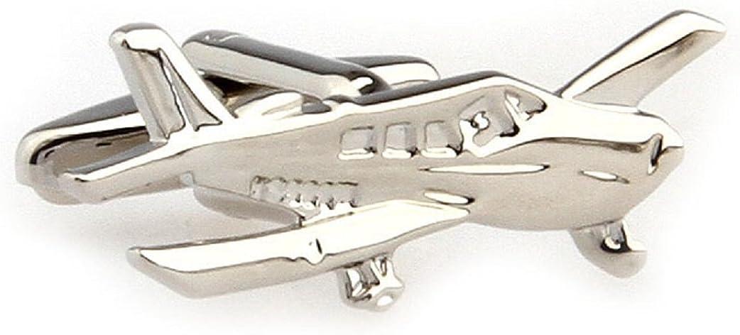 MRCUFF Airplane Plane Cessna Pilot Pair of Cufflinks in a Presentation Gift Box & Polishing Cloth