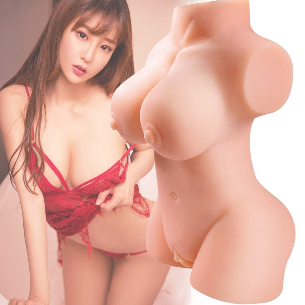 3D Lifelike Silcone Lovely Dolls 2 Entries Male Realistic Adult Toys Soft Women Full Body C Cup Torso Solid Natural Dolls Men's Best Relaxing Gifts (12x6.5x3.9 in)