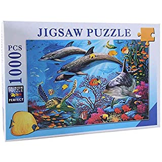 QISHOP 1000 Pieces Large Jigsaw Puzzles for Adults, 30×20 Inch Ocean Landscape Puzzles for Children and Teens Ages 12 and up, Difficult Puzzle Art for Men and Women(Dolphin)