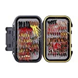 Pinty 129pcs Fly Fishing Flies Kit with Waterproof Fly Box for Trout Fishing, 24 Species 5pcs Each, Multiple Choice of Colors, 9 Different Sized Buckles